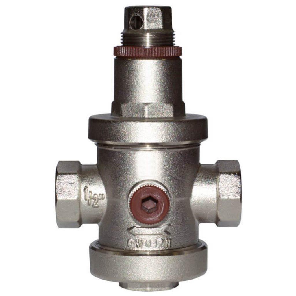Reduktor ciśnienia GW1″, PN25, 1-6bar, 3 gniazda do manometrów