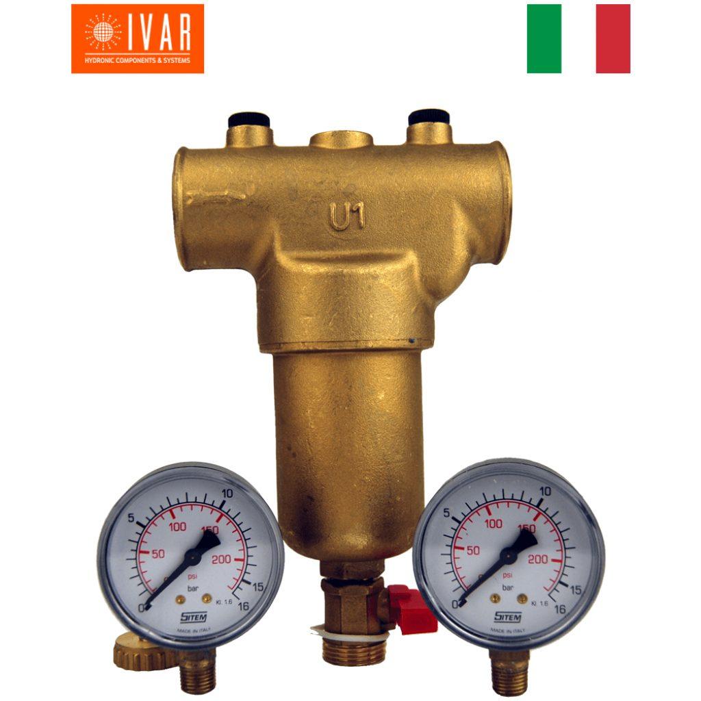 """Filtr mechaniczny ciepłej/zimnej wody GW 1 1/4"""",  filtr 100 mikron, mosiężny, 2 manometry, zawór spustowy płuczący"""