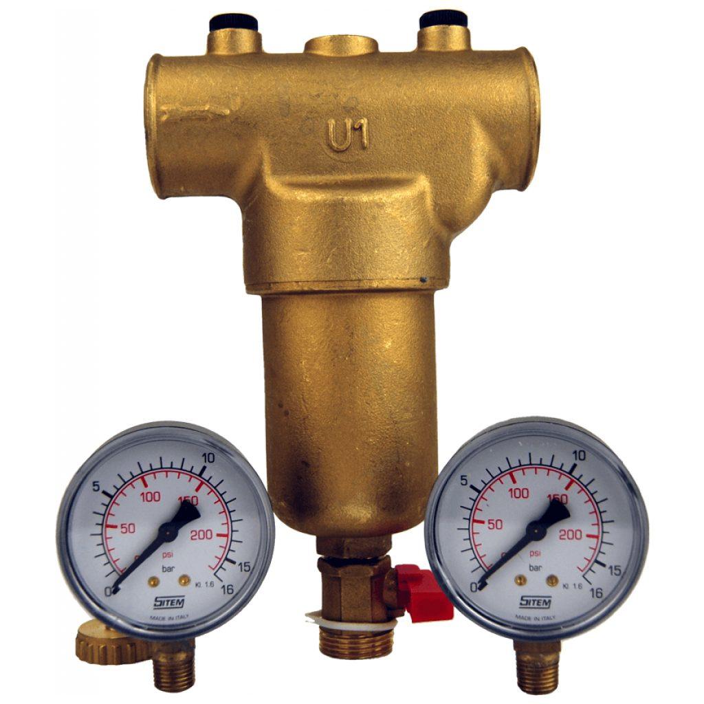 """Filtr mechaniczny ciepłej/zimnej wody GW1"""", 300 mikron, mosiężny, 2 manometry, zawór spustowy płuczący"""