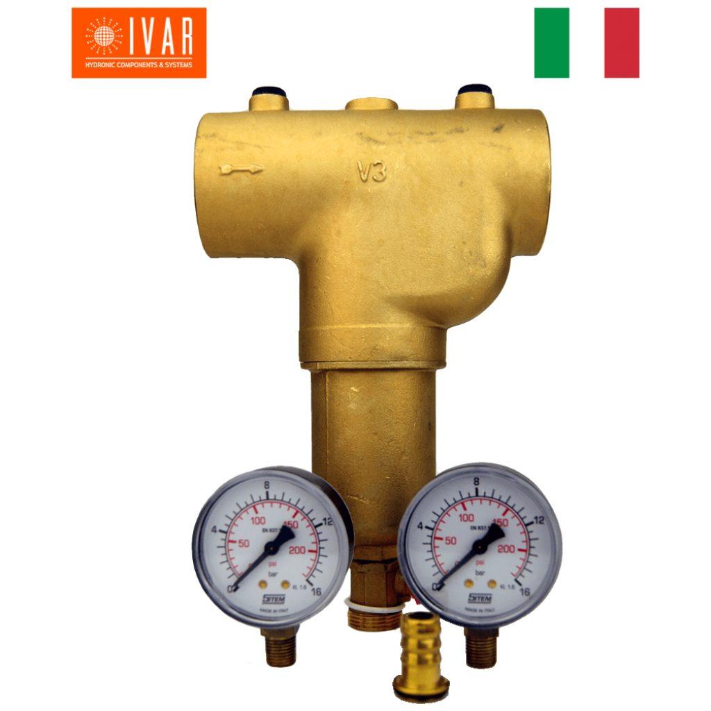 """Filtr mechaniczny ciepłej/zimnej wody GW 1 1/4"""", 300 mikron, mosiężny, 2 manometry, zawór spustowy płuczący"""