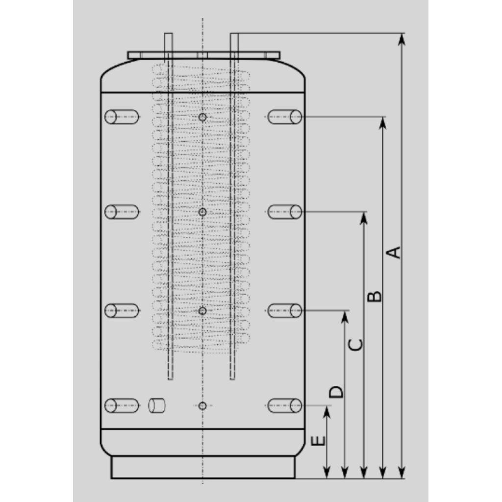 Zbiornik buforowy EHK 1000l D79 H205 z wężownicą CWU 9,0m2