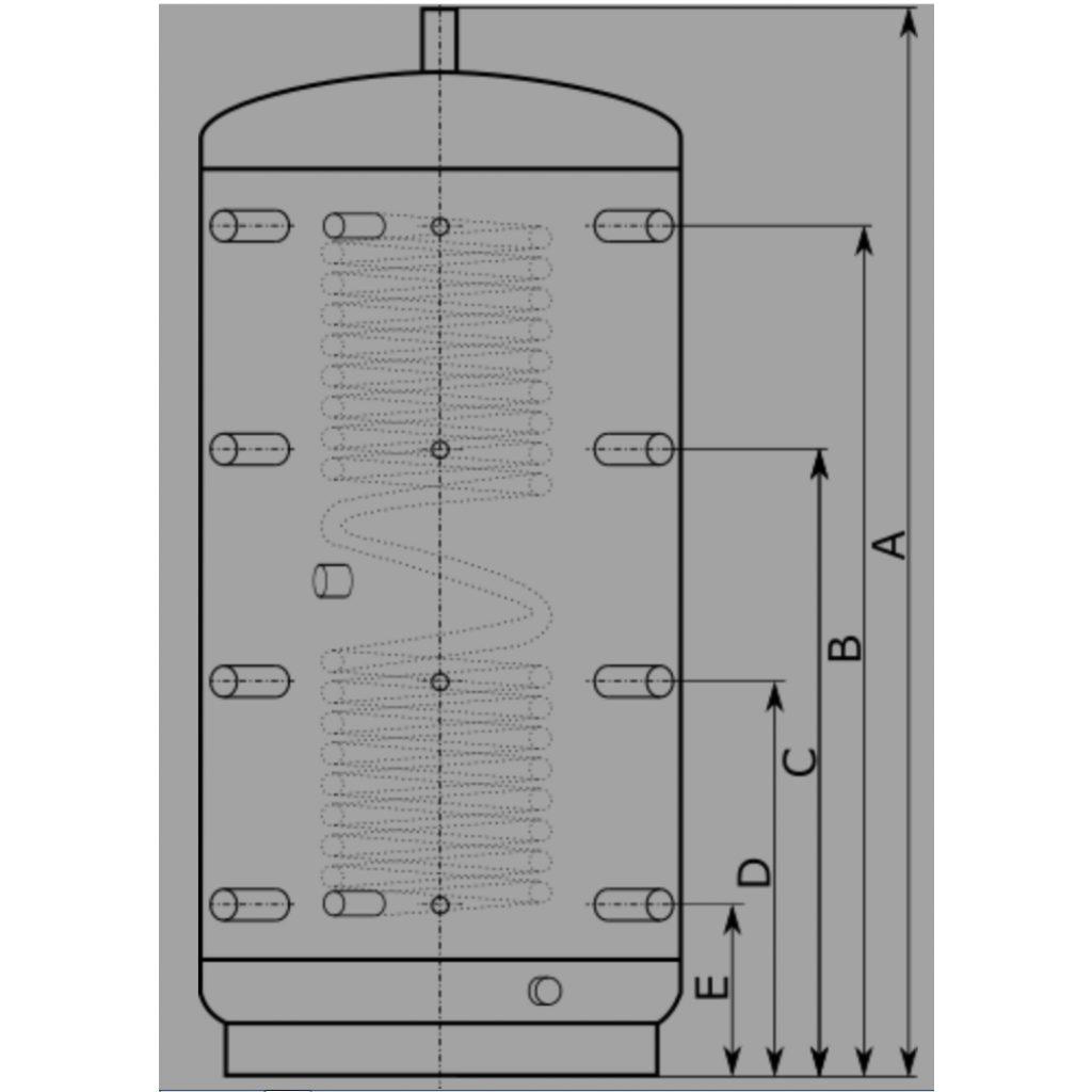 Zbiornik buforowy FK 1500l D100 H208 z wężownicą CWU 9,0m2